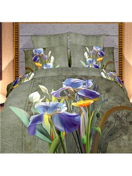 Retro Orchidr Print 4 Piece Bedding Sets/Duvet Cover Sets