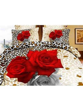 Sexy Leopard with Red Roses Print 4 Piece Bedding Sets/Comforter Sets