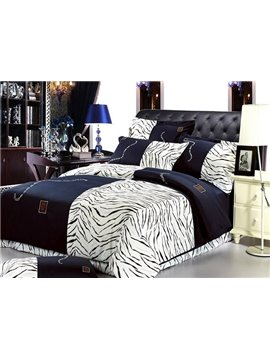 100% High Quality Cotton Zebra-Stripe Print 4 Piece Bedding Sets/Duvet Cover Sets