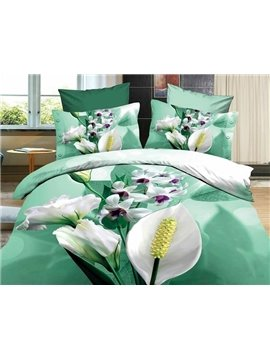 3D High Quality Fresh Green Flower 4 Piece Bedding Sets/Duvet Cover Sets