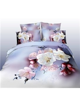 3D 100% Cotton Romantic Sober 4 Piece Bedding Sets/Comforter Sets