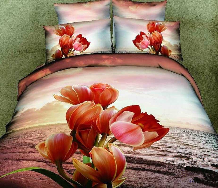 3D 100% Cotton Sunset Flower 4 Piece Bedding Sets/Duvet Cover Sets