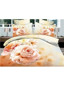 100% Cotton Gorgeous Flowers 4 Piece Bedding Sets/Duvet Cover Sets