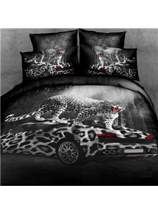 New Arrival Sexy Leopard with Car Print 4 Piece Bedding Sets/Duvet Cover Sets
