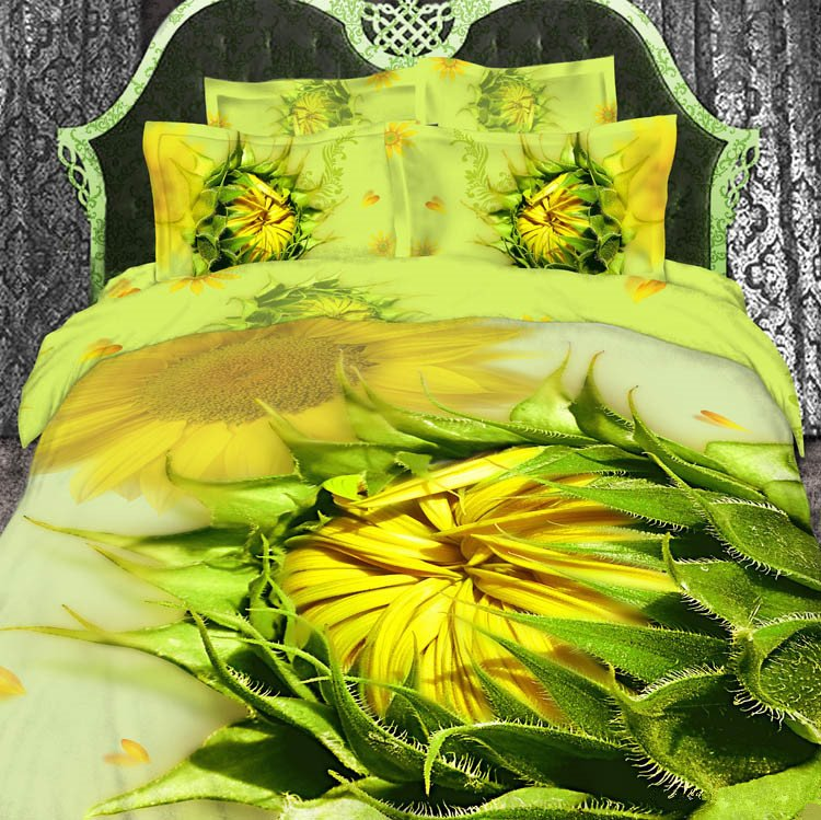 Splendid Sunflower Print 4 Piece Bedding Sets/Duvet Cover Sets