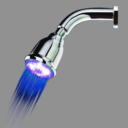 Fashion LED Rainfall Shower Head faucet with Copper Pole Changing Color by Temperature