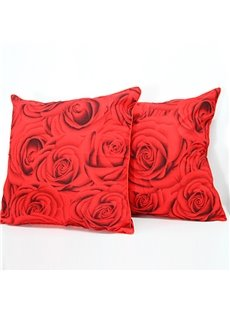 New Arrival Square Red Roses Sofa Throw Pillowcase /Cushion Sham