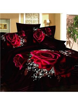 New Arrival Luxury Rose 4 Piece Bedding Sets/Comforter Sets