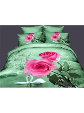 New Arrival Pretty Pink Rose with Elegant Swan 4 Piece Bedding Sets/Duvet Cover Sets