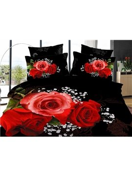 New Arrival Gorgeous Red Rose 4 Piece Bedding Sets