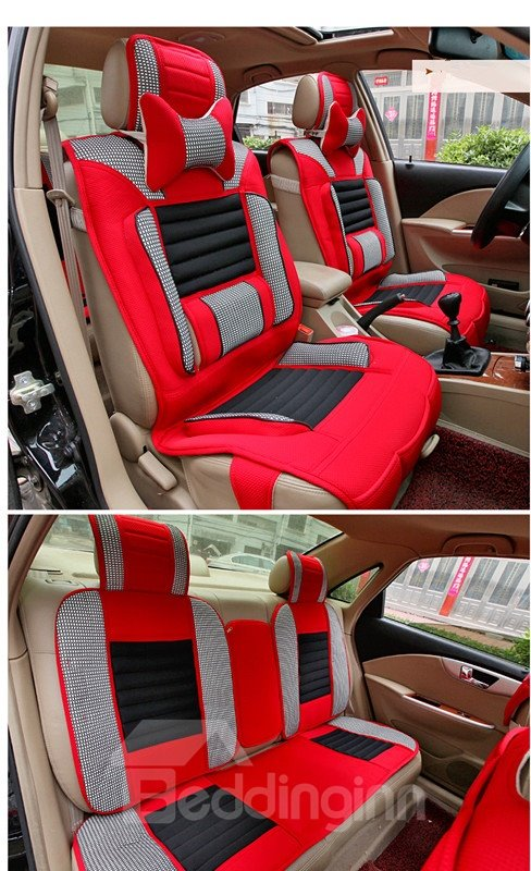 Special Designed Fashionable Contrasting Colored Stripe Leather Car Seat Cover