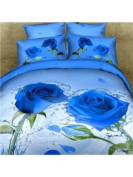 New Arrival Luxury Blue Roses Print 4 Piece Bedding Sets
