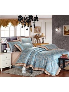 High Quality Fashion Print Silk and Cotton 4 Piece Bedding Sets