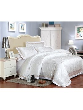 New Arrivl Pure White Fashion Print High Quality 4 Piece Bedding Sets