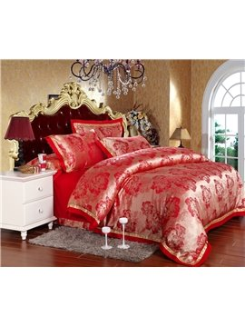 Pretty Flowers Print High Quality Silk and Cotton 4 Piece Bedding Sets