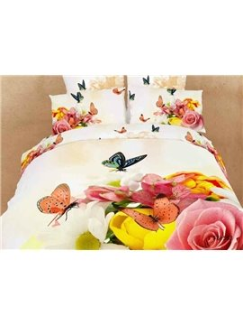 New Arrival Butterfly in the Flowers 4 Piece Bedding Sets/Duvet Cover Set