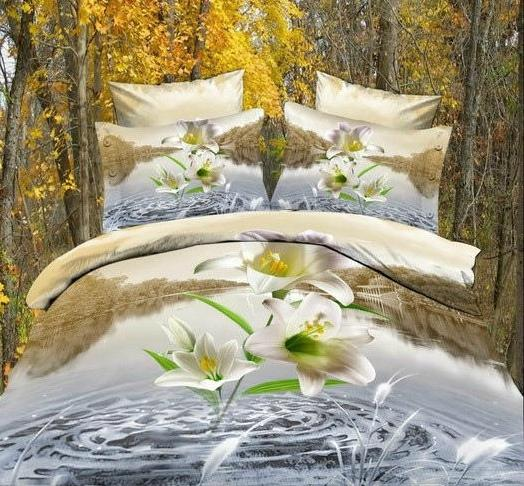 New Arrival Active Printing Lily In Water 4 Piece Bedding