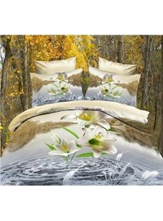 New Arrival Active Printing Lily in Water 4 Piece Bedding Sets/Duvet Cover Set
