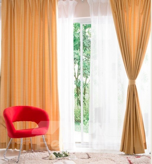 Eco-Fine Polyester Cotton Made Two-Piece Eco- Friendly Modern Style Curtain
