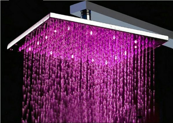 12 Inches Temperature Control LED Changing Color Pure Copper Shower Head Faucet