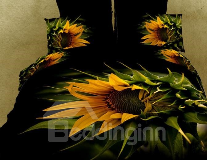 New Arrival High Quality 100% Cotton Blooming Sunflower 4 Piece Bedding Sets