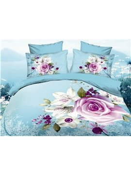 New Arrival Pink Rose Flowers Print 4 Piece Bedding Sets