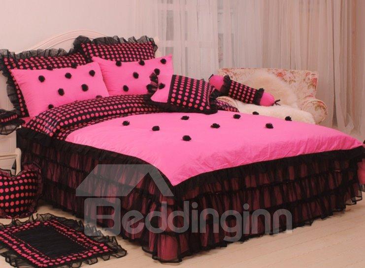 New Arrival Princess Style Rose Lace 4 Piece Bedding Sets/Duvet Cover Sets