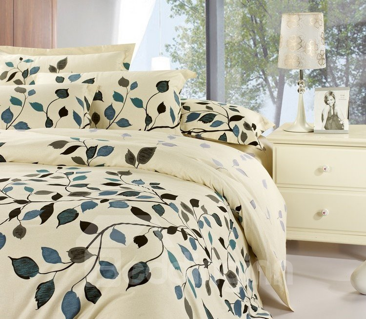 Graceful Leaves 100% Cotton Drill 4 Piece Light Beige Bedding Sets