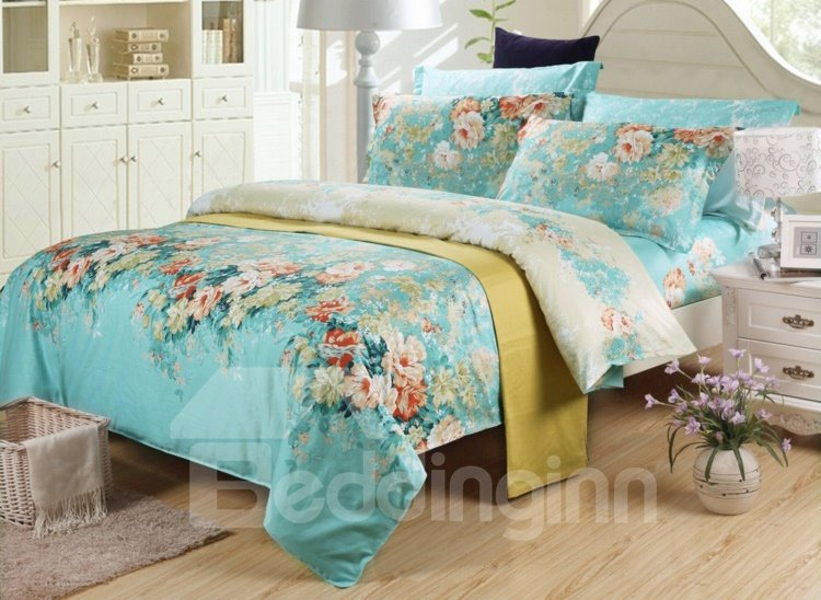 High Quality Retro Blue 4 Piece Colorful Blooming Flowers Bedding Sets