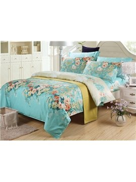 High Quality Retro Green 4 Piece Colorful Blooming Flowers Bedding Sets