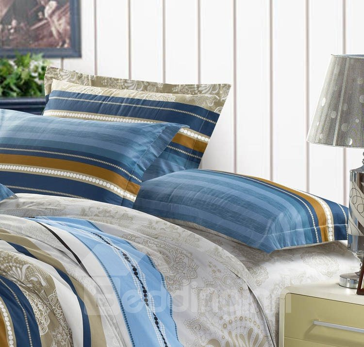 New Arrival 4 Piece Elegant 100% Cotton Stripe Style Bedding Sets