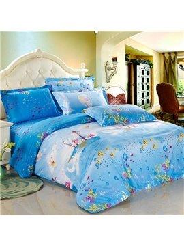 Pretty Journal Style 100% Cotton Blue 4 Piece Bedding Sets