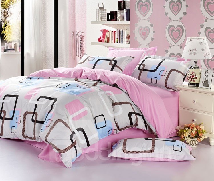 100% Cotton Classical Plaid 4 Piece Duvet Cover Sets