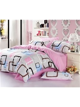 100% cotton Warm-stoned Printed with classical Plaid 4 Piece Bedding Sets