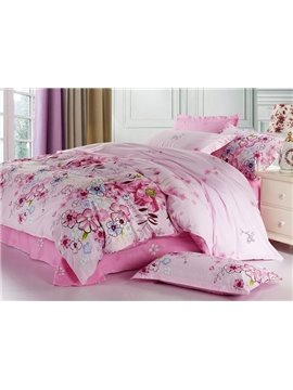 Best Selling 4 Piece Romantic Pink Florals Printed Bedding Sets