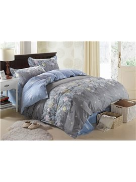 High Quality 4 Piece Rosemary Print Dun and Blue Bedding Sets