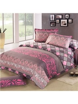 Top Grade 4 Piece Plaid and Acticve Printing Bedding Sets