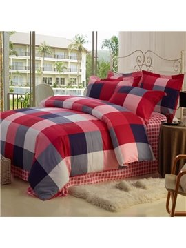 High Quality 100% Cotton Checked 4 Piece Bedding Sets