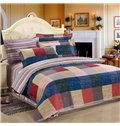 England Style with Plaid and Stripe 4 Piece Bedding Sets