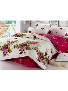 Elegant Wine Red Peony With Green Leaves 4 Piece Bedding Sets