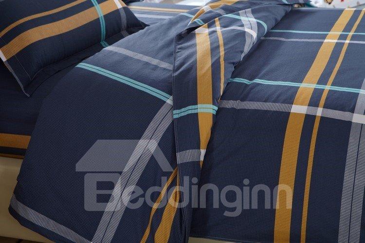 Gentle Stripe Print Dark Blue 100% Cotton 4 Piece Bedding Sets