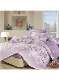 Sweet Rose and Lily Blossom 4 Piece Purple Fitted Sheet