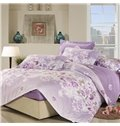 Sweet Rose and Lily Blossom 4 Piece Purple Fitted Sheet Pattern Bedding Set