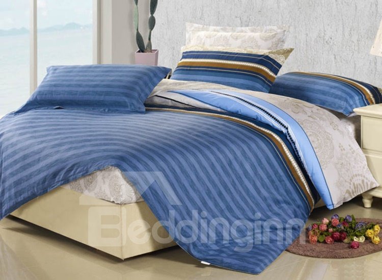 New Arrival 4 Piece Elegant 100% Cotton Stripe Style Fitted Sheet Bedding sets