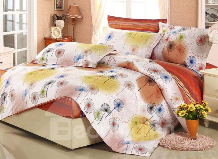 New Arrival Colorful Dandelion Print European style 4 Piece Fitted Sheet Bedding sets