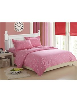 Sweet 100% Cotton Music Note Print Pink 4 Piece Fitted Sheet Bedding sets