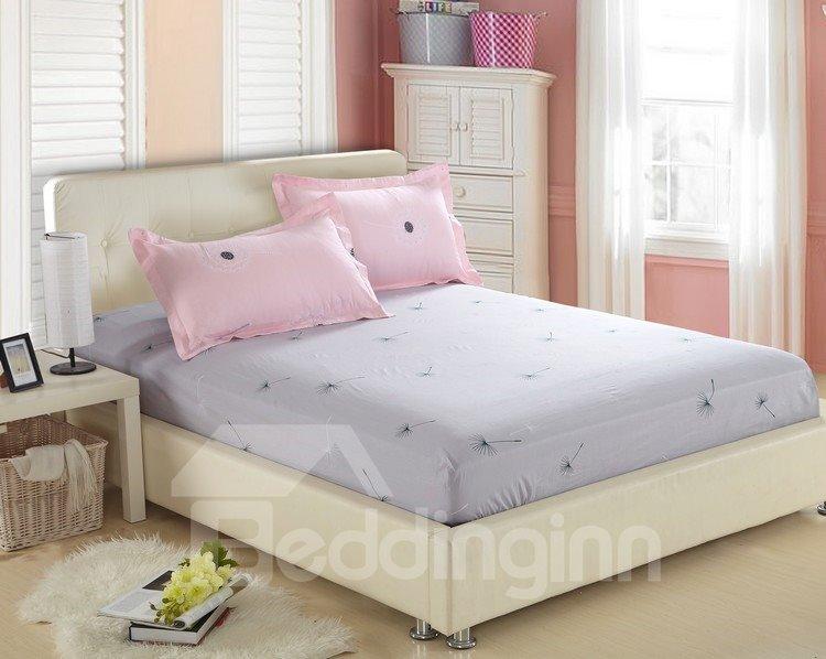 Elegant Dandelion Print Pink and Grey 4 Piece Fitted Sheet Bedding sets