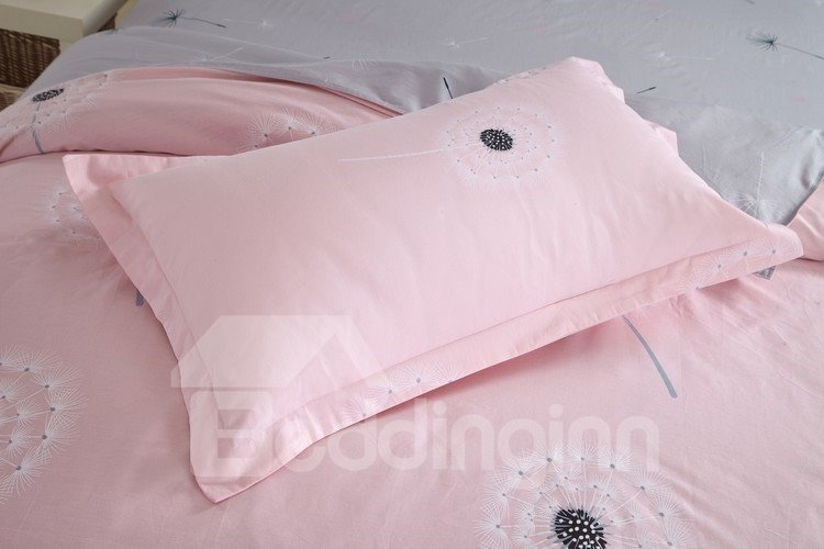 Elegant Dandelion Print Pink and Grey 4 Piece Fitted Sheet Bedding sets