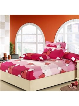 New Arrival Cute Heart Style Comfortable 4 Piece Fitted Sheet