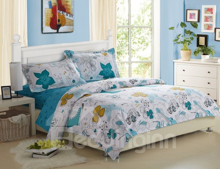 Fashionable Scrawl Print 100% Cotton 4 Piece Fitted Sheet Bedding sets